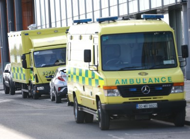 Ambulances at the entrance to the Covid-19 testing facility on Sir John Rogerson's Quay on the Liffey in Dublin city centre
