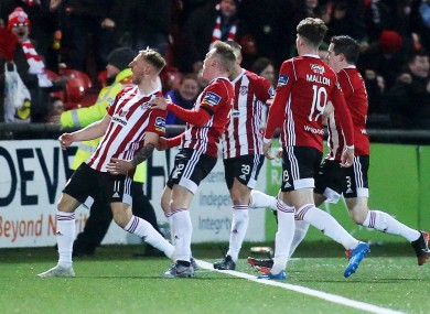 Derry City players celebrate a goal against Finn Harps this year.