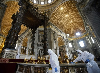 Cleaners disinfect St. Peter's Basilica at the Vatican