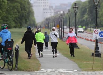 eople walk on new pedestrian lanes on Chesterfield Avenue in Dublin's Phoenix Park