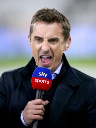 Gary Neville on duty with Sky Sports.