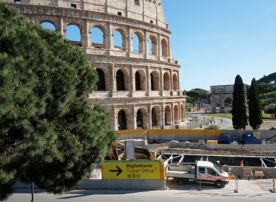 A construction site near the Colosseum in Rome