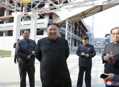 In this 1 May photo provided by the North Korean government, leader Kim Jong Un visits a fertilizer factory in Sunchon, South Pyongan province, near Pyongyang, North Korea.