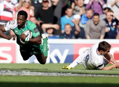 Niyi Adeolokun scores a try against Leinster during the 2016 Pro12 final.