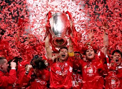 Liverpool captain Steven Gerrard lifts the UEFA Champions League trophy in 2005.