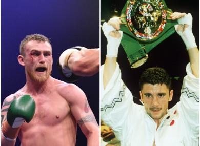 L: Dennis Hogan, R: Wayne McCullough raises aloft the WBC World bantamweight title.