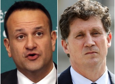 Leo Varadkar (L) is courting the Greens and its leader Eamon Ryan (r) for a coalition with FG and FF.