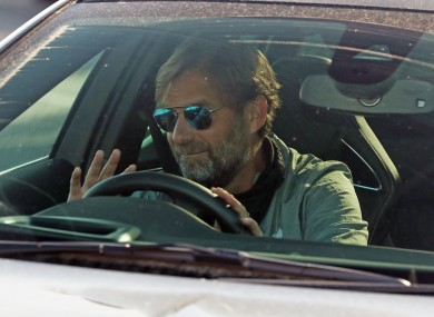 Jurgen Klopp arriving at Liverpool training today.