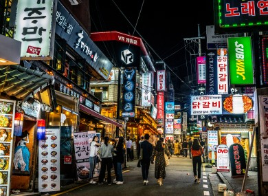 Bars and restaurants in the Gangnam area of Seoul.