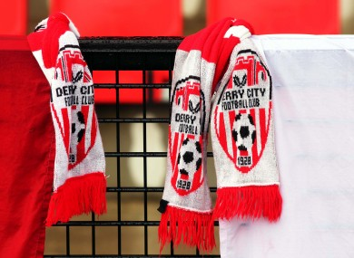 Derry City scarfs hang at the Brandywell.