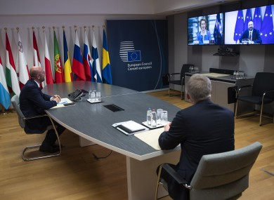 European Council President Charles Michel speaks to Ursula von der Leyen, on screen left, prior to EU-UK talks today.