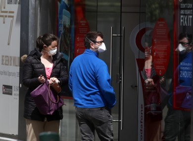 File photo. People wearing masks in Dublin city.