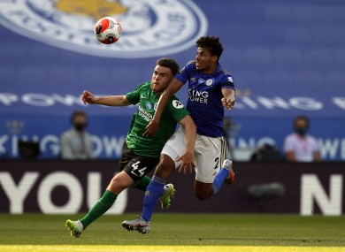 Aaron Connolly was awarded a penalty after being fouled by Leicester City's James Justin on Tuesday night.