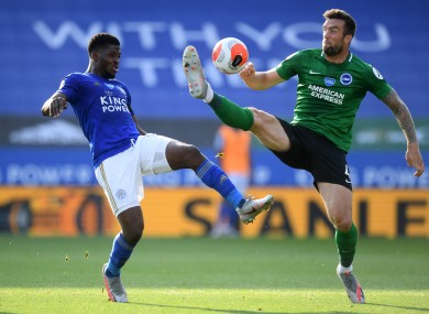 Shane Duffy challenges Kelechi Iheanacho during last week's meeting of Leicester City and Brighton & Hove Albion.