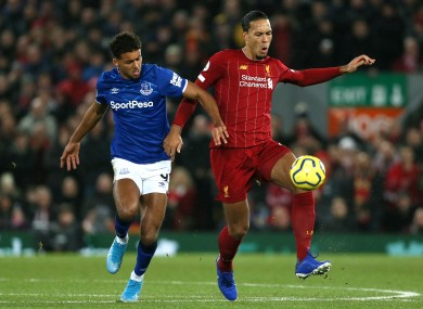 Dominic Calvert-Lewin with Virgil van Dijk during the Merseyside Derby staged at Anfield earlier this season.