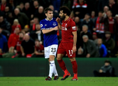 Everton's Seamus Coleman and Liverpool's Mo Salah