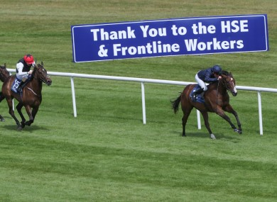 More Beautiful, ridden by Seamus Heffernan, comes home to win ahead of Roses Blue and Shane Foley.