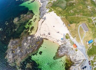 Aerial view of a beach in An Cheathrú Rua, Connemara, Co Galway.