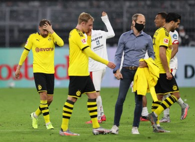Disappointment tonight for Borussia Dortmund players.