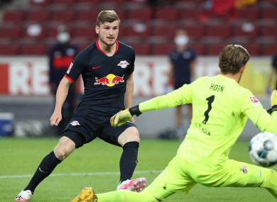 Timo Werner scores for Leipzig.