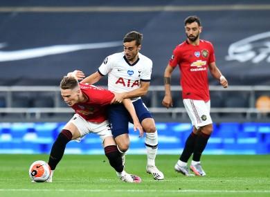 Scott McTominay holding off Tottenham's Harry Winks during Friday's draw.