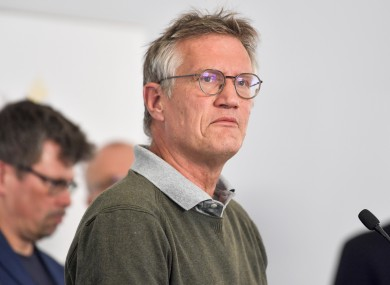 State epidemiologist Anders Tegnell of the Public Health Agency of Sweden speaking during a news conference in Stockholm today.