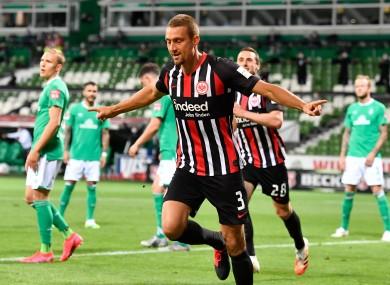 Stefan Ilsanker celebrates after scoring for Eintracht Frankfurt in tonight's win against Werder Bremen.