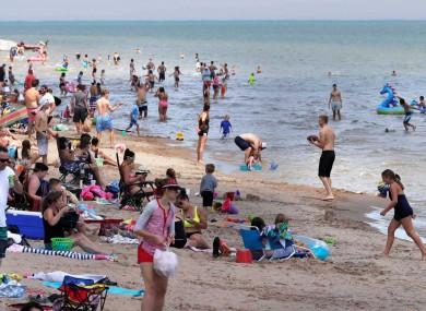 Neshotah Beach in Wisconsin yesterday.
