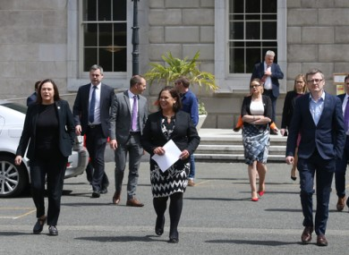 Sinn Féin TDs at Leinster House today.