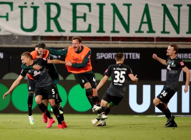 Bremen's Ludwig Augustinsson after scoring.