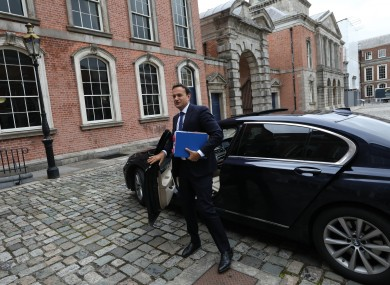 Minister for Enterprise Leo Varadkar arriving for a cabinet meeting.