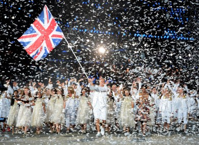Team GB walk out for the opening ceremony in 2012.