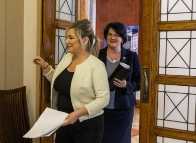 Northern Ireland's First Minster Arlene Foster (right) and Deputy First Minister Michelle O'Neill (left), pictured on 10 June.