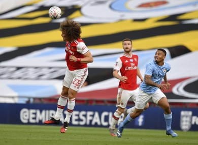 David Luiz in action against Manchester City today.