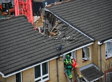 Emergency services staff at the scene in Bow, east London.
