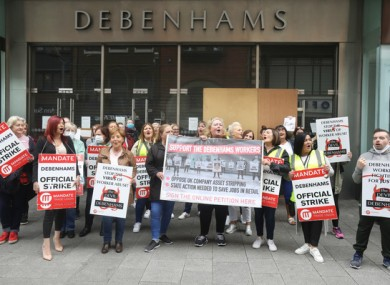 Workers protesting outside Debenhams.
