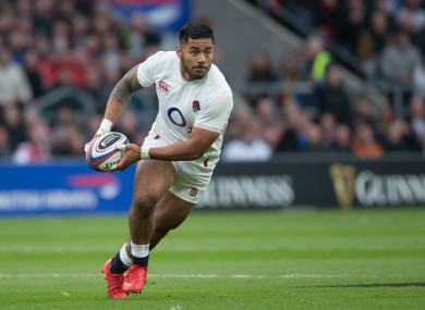 Manu Tuilagi in action for England in the Six Nations back in March.