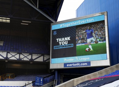 A thank you notice to Everton's Leighton Baines is shown up on the LED screen after the Premier League match at Goodison Park.