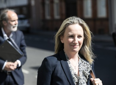 Gemma O'Doherty arriving at the Four Courts with John Waters for their High Court action in May.