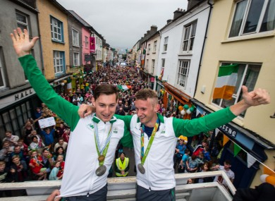 Gary and Paul O'Donovan arrive home as Olympic silver medalists.