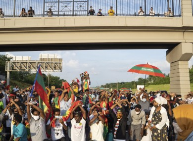 Protests in Minnesota, US in support of the Ethiopia protests where at least 81 have died.