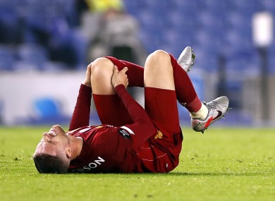 Henderson was injured on Wednesday against Brighton.
