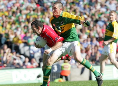 Kieran Donaghy in action against Kieran O'Connor.