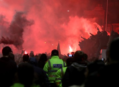Police presence as Liverpool fans celebrate outside Anfield