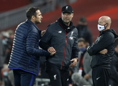 Klopp and Lampard at the end of Wednesday's fiery match.