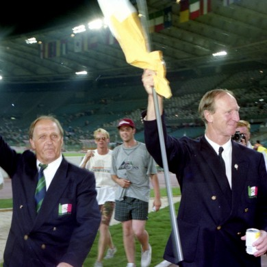 Jack Charlton with Maurice Setters after Ireland's World Cup exit in 1990.