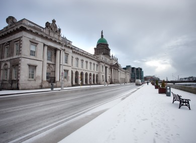 File photo of snow outside Custom House in Dublin.