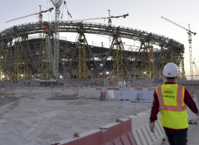 A photo of the Lusail Stadium construction site, where the final will be held, taken in February.