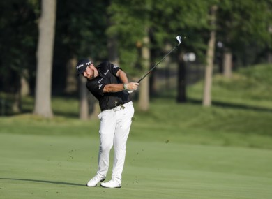 Shane Lowry on the 13th hole earlier today.