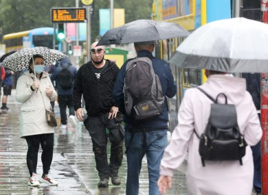 People walking in a rainy Dublin today.